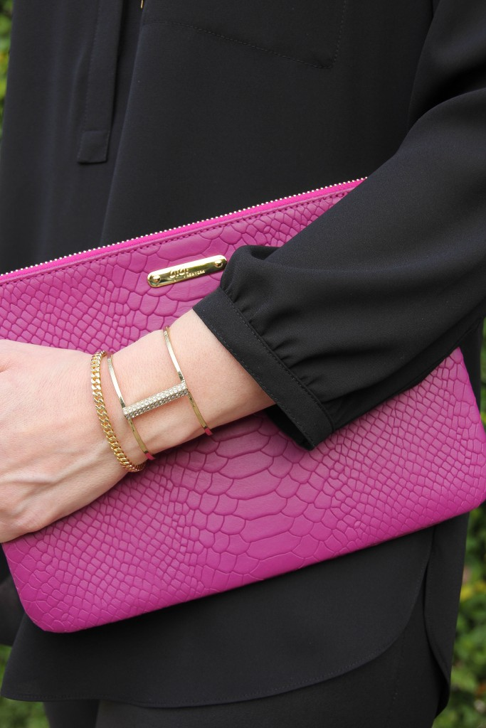 Magenta Clutch and baublebar bracelets | Lady in Violet