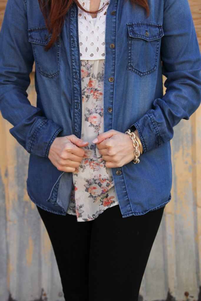 Layering Denim shirt with floral top | Lady in Violet
