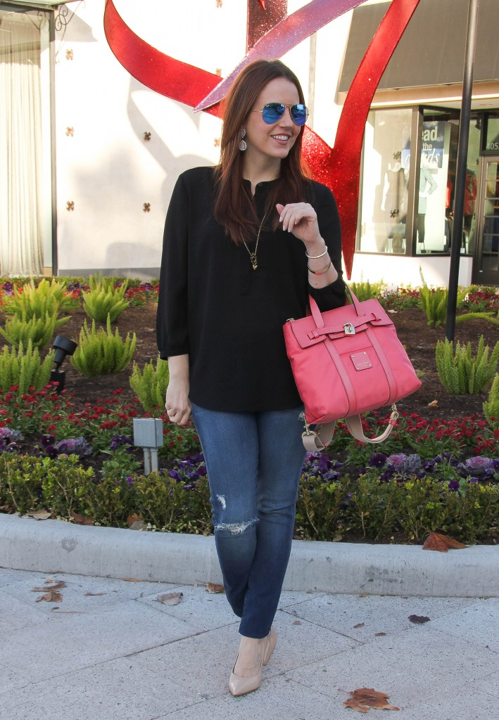 summer outfit - distressed skinny jeans with pink purse by Lady in Violet