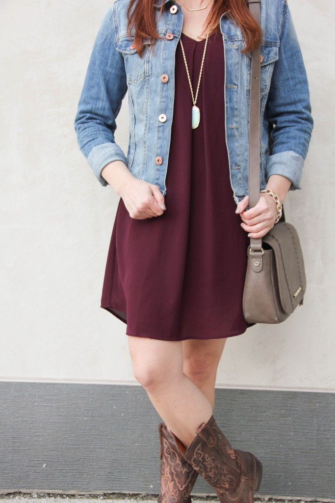 Weekend Outfit - dress and jean jacket