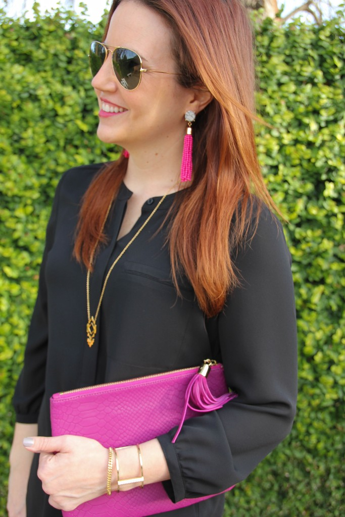 Pink Tassel Earrings and Gorjana Pendant Necklace