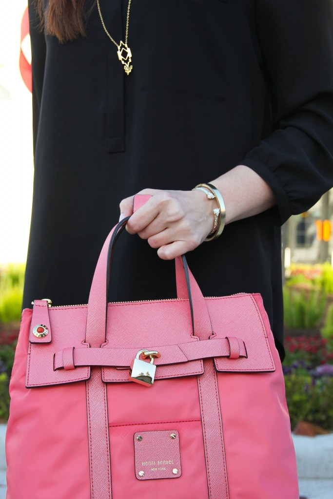 Gorjana Pendant Necklace and Pink Henri Bendel satchel | Lady in Violet