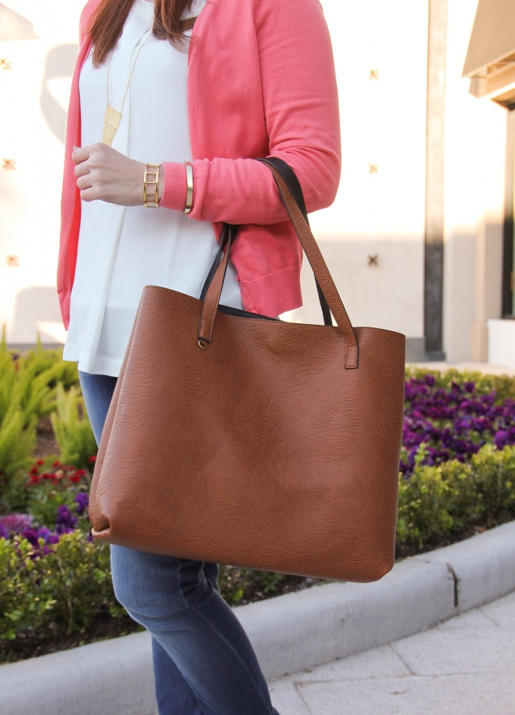 street level reversible tote with gold bracelets