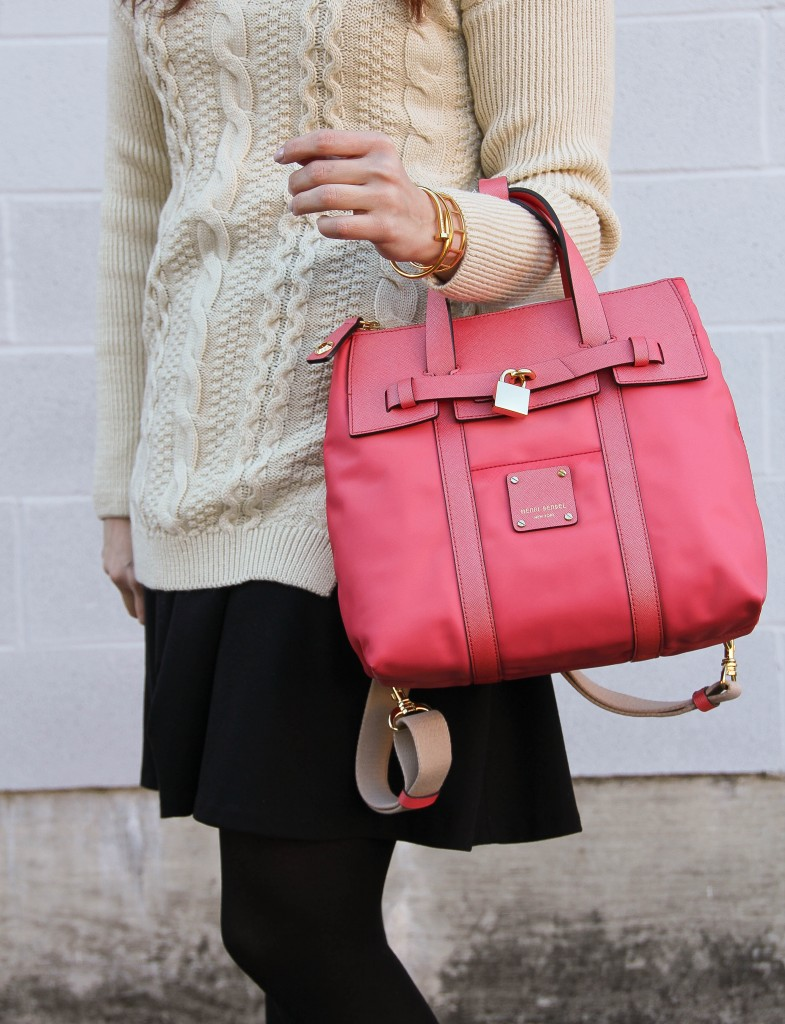 Pink purse winter outfit by Lady in Violet
