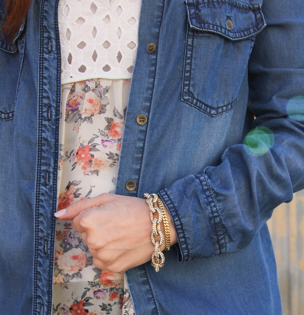Baublebar bracelets with denim shirt