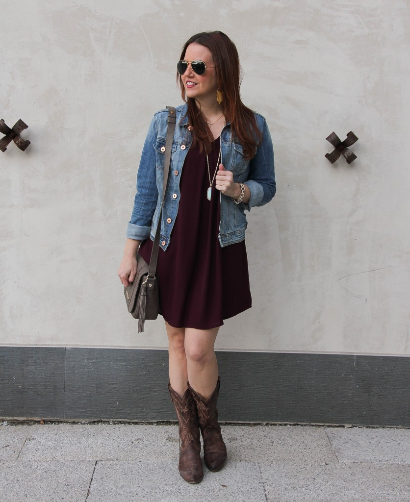 Rodeo Cookoff outfit - maroon dress, cowboy boots, denim jacket