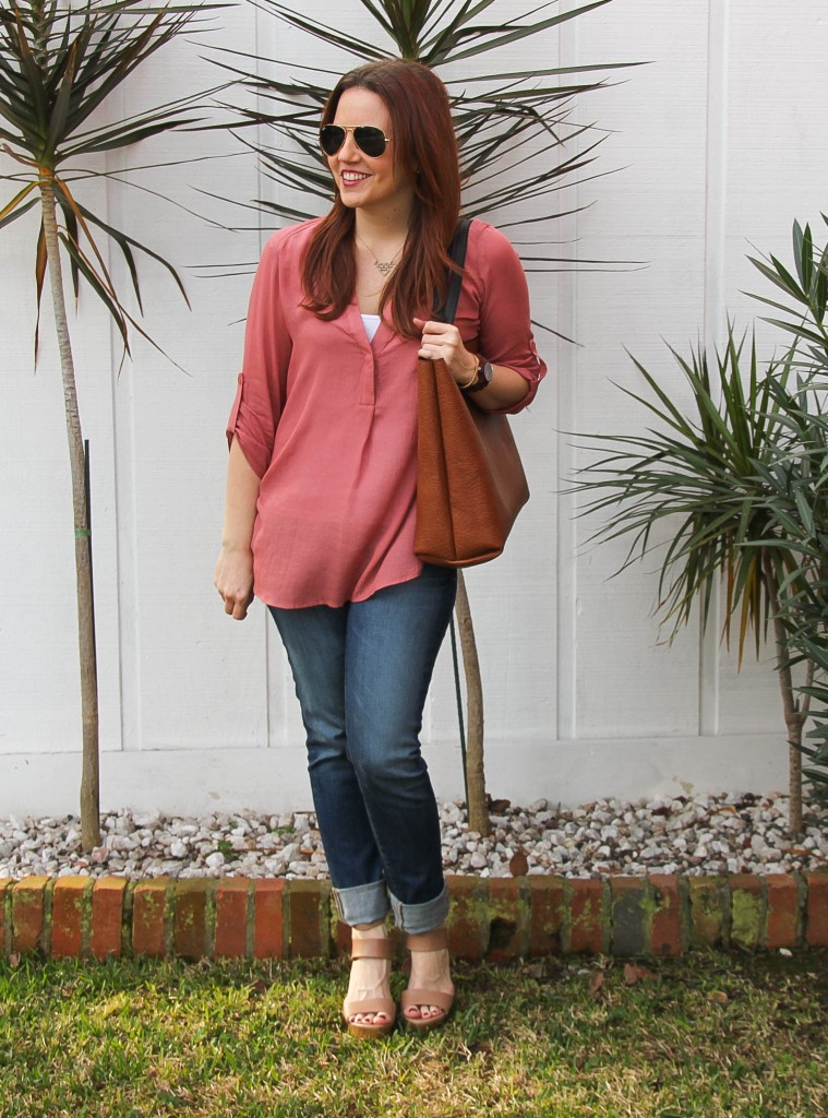 casual top with ag jeans and wedges