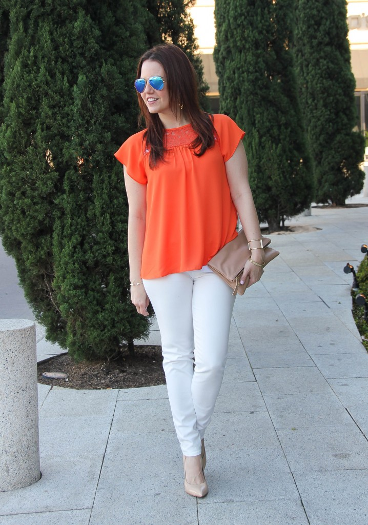 Easter outfit - white jeans and orange top