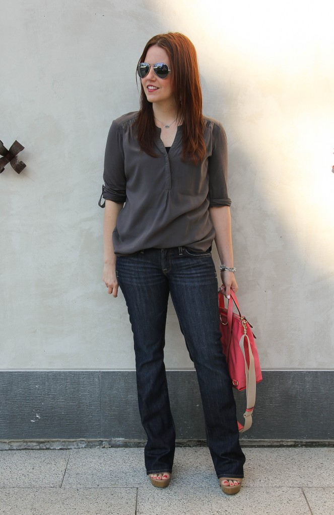 Spring outfit - flared jeans and gray tunic