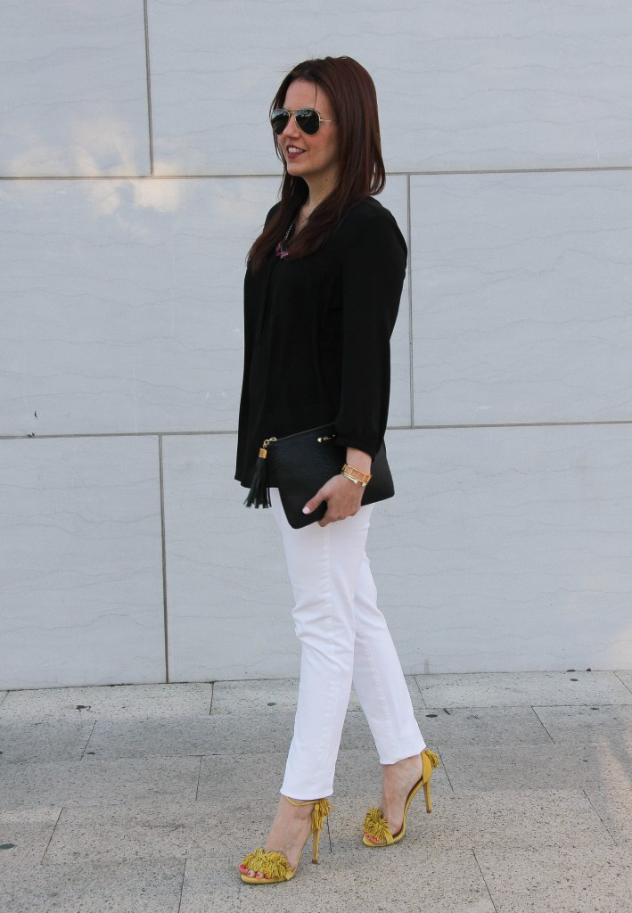 spring outfit - white denim and fringe sandals