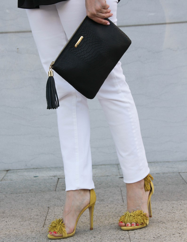 yellow fringe sandals with paige denim in white