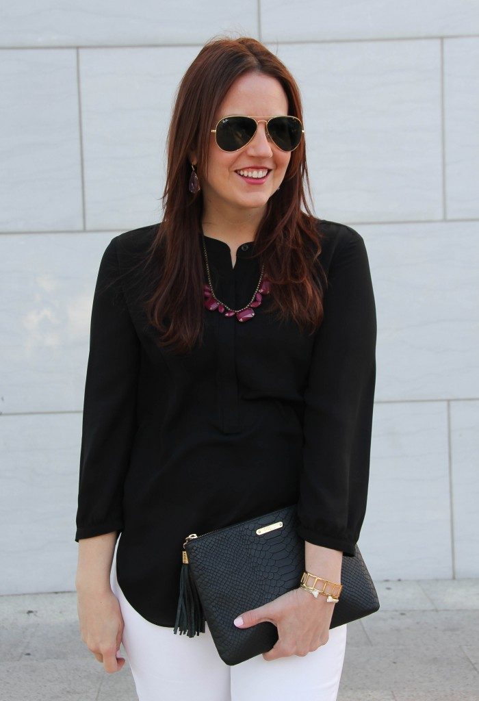 black henlely top with loren hope necklace