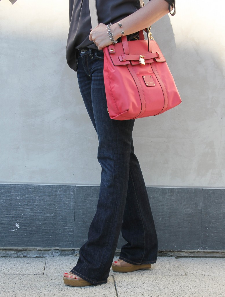 lucky brand bootcut flared jeans and seychelles wedges