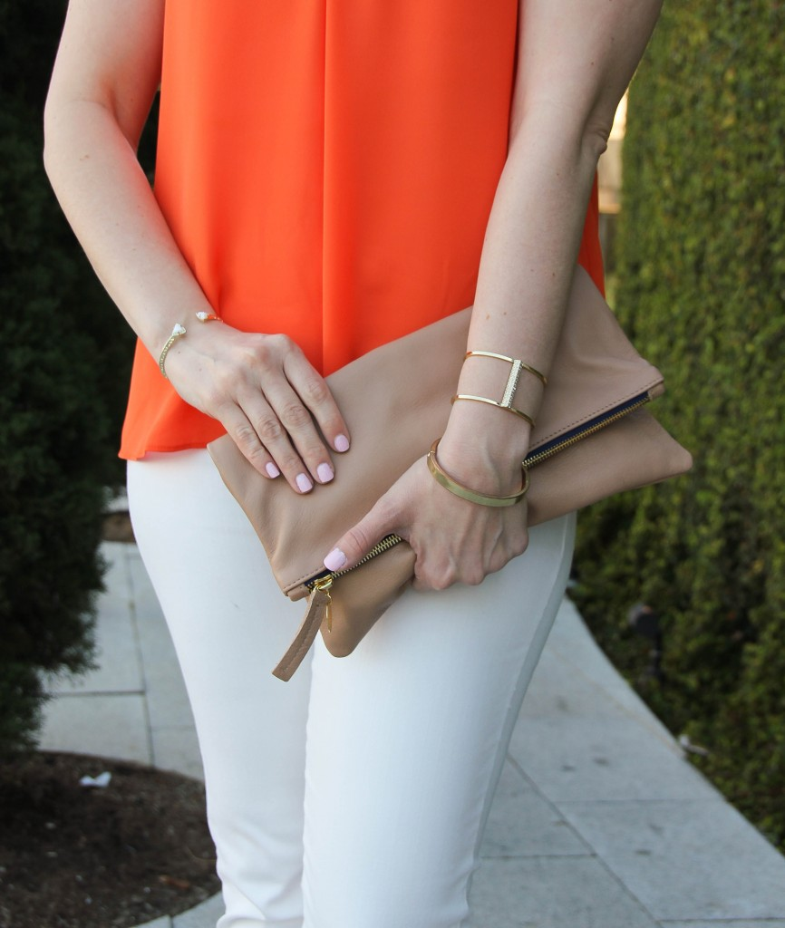 baublebar pinnacle cuff and slim hinge bangle with clare v clutch