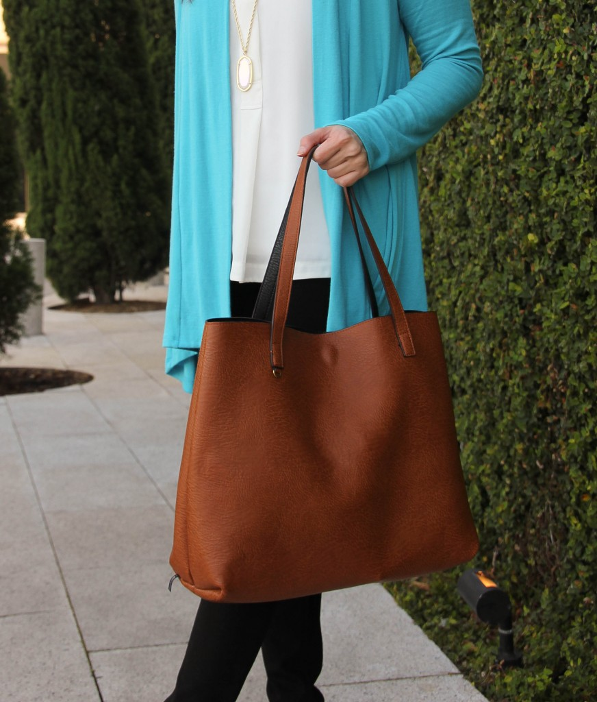 street level reversible tote - brown and black