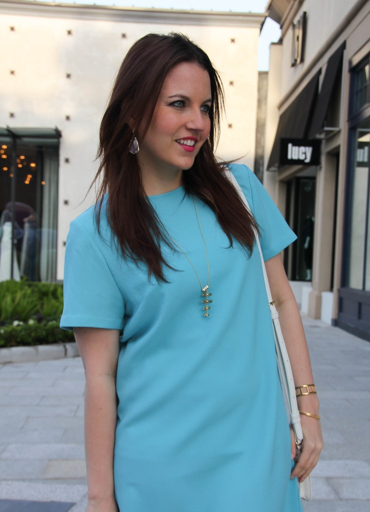 house of harlow necklace with kendra scott purple earrings