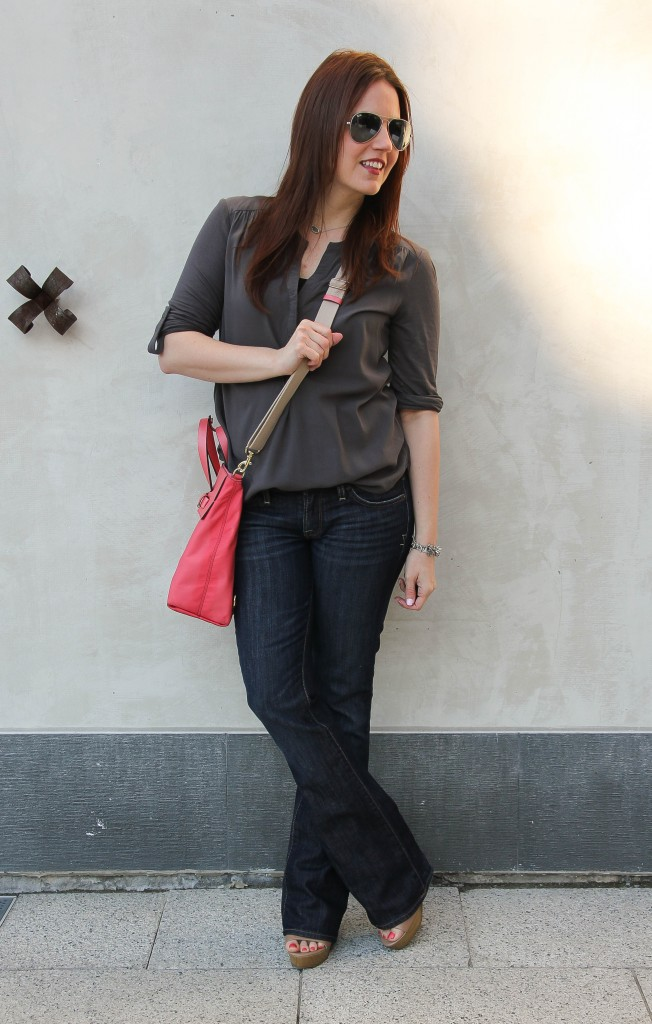 casual weekend outfit for spring - flared jeans and wedge sandals