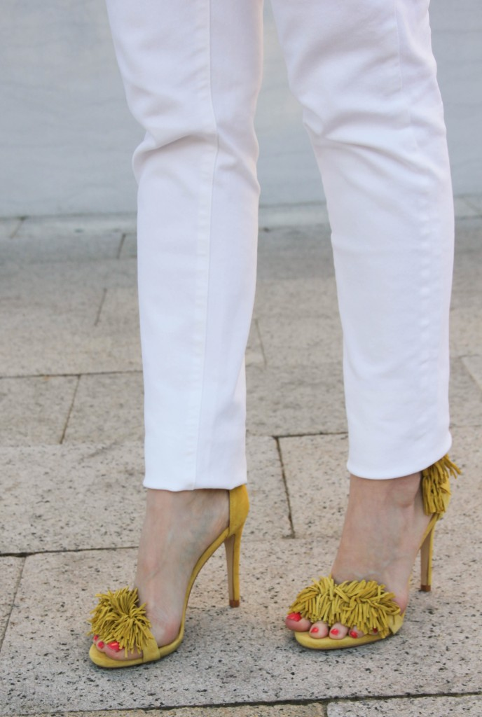 steve madden sassey fringe sandals in yellow
