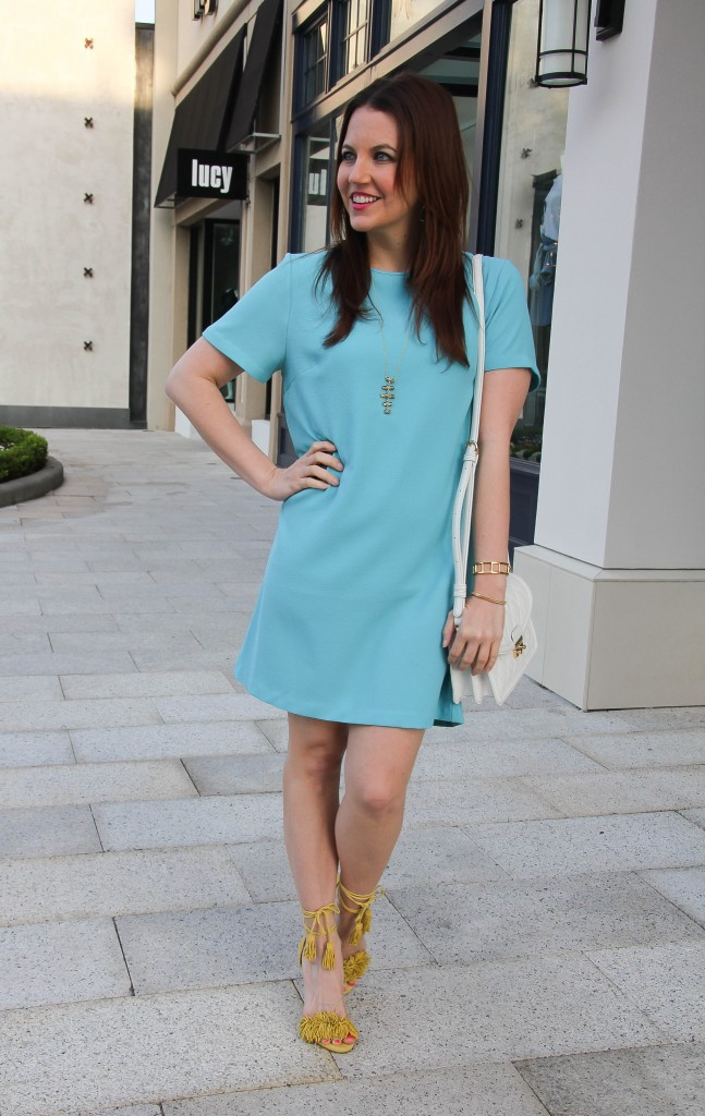 spring outfit for brunch - blue dress