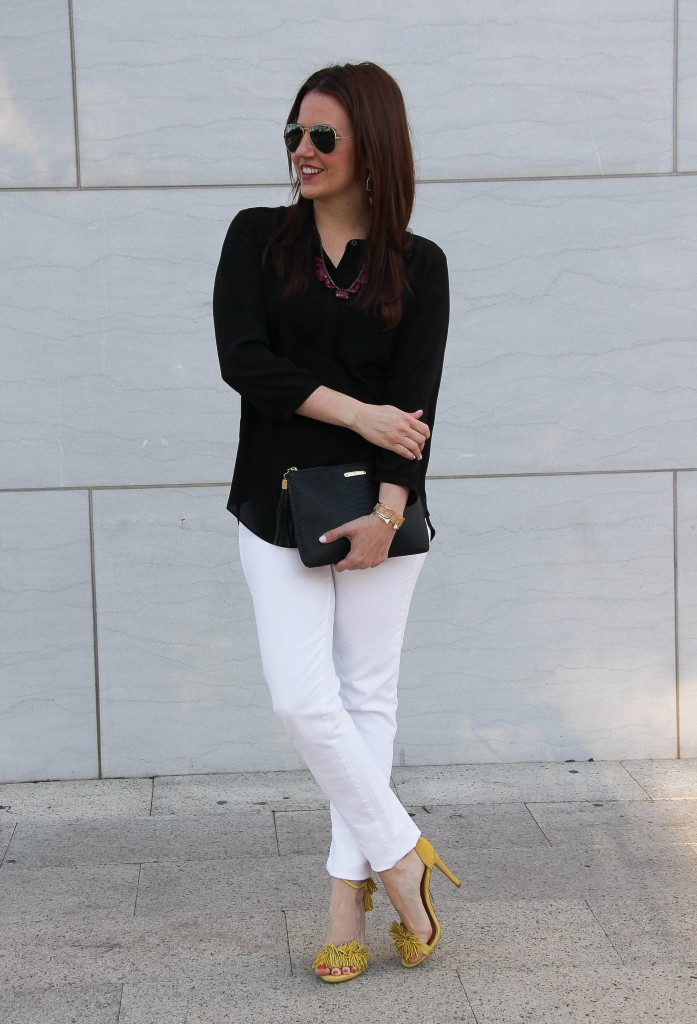 spring weekend outfit - white jeans, black top and yellow sandals