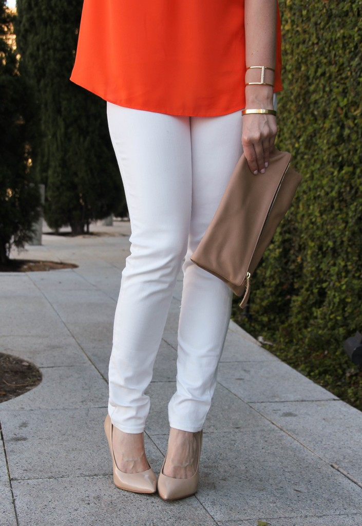 white skinny jeans with steve madden heels - cute!