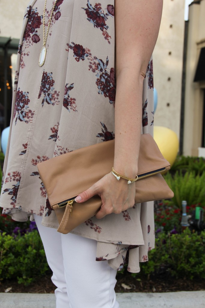 Free People top and Clare V clutch