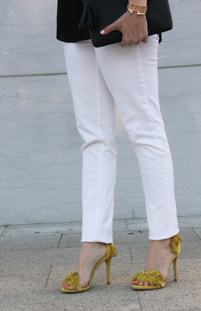White denim and yellow fringe sandals