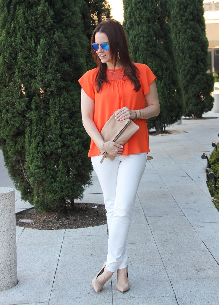 Spring Fashion - White jeans and orange blouse