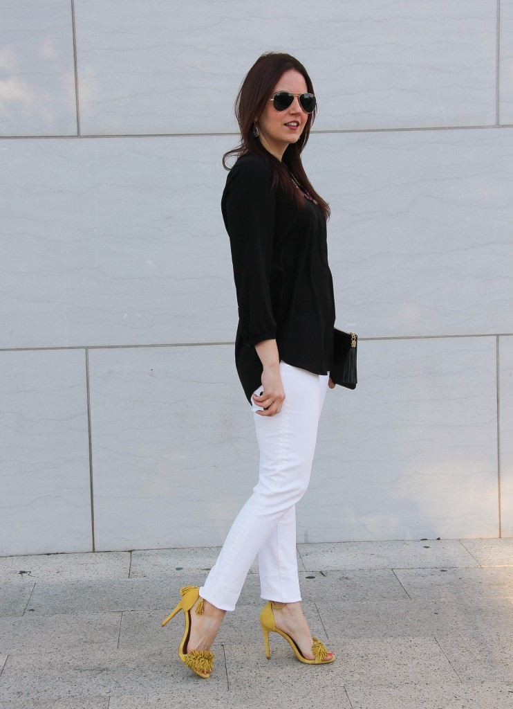 spring outfit inspiration - white denim with fringe sandals, LOVE!