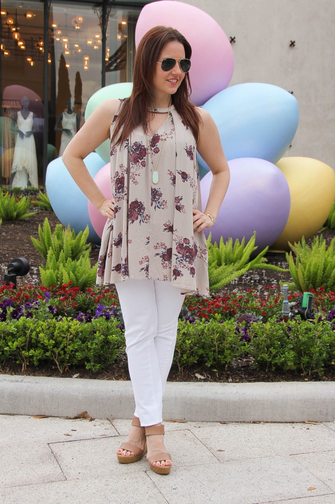 Dressy Casual spring outfit with floral blouse and white denim