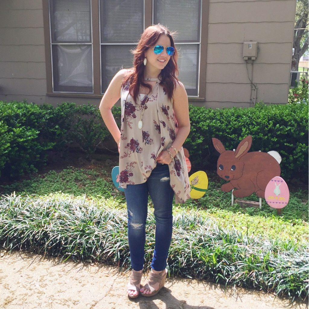 Easter Outfit - Distressed Denim and floral tunic
