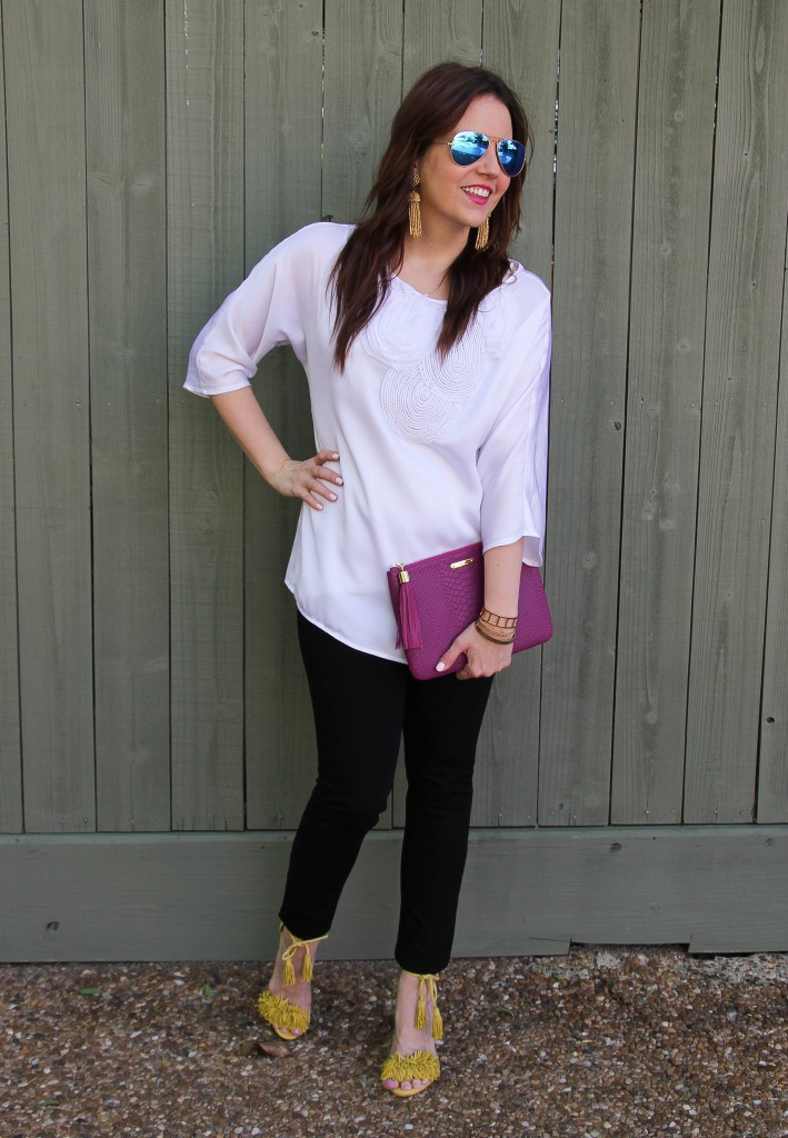 happy hour outfit - white blouse and skinny jeans