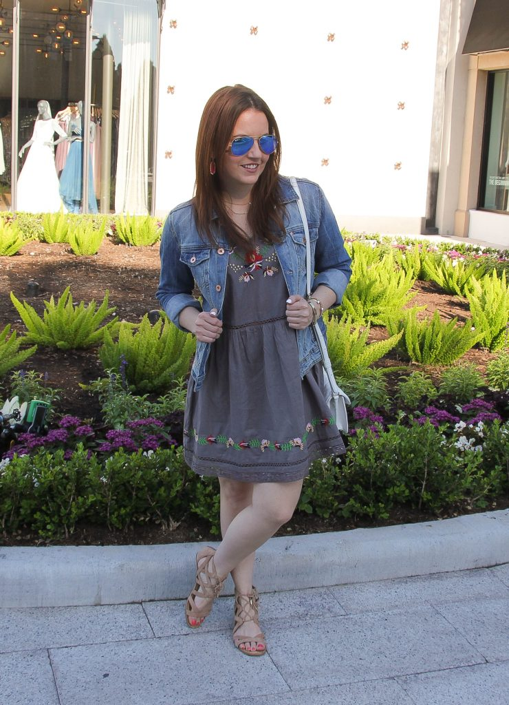 Spring Outfit - dress, denim jacket and sandals