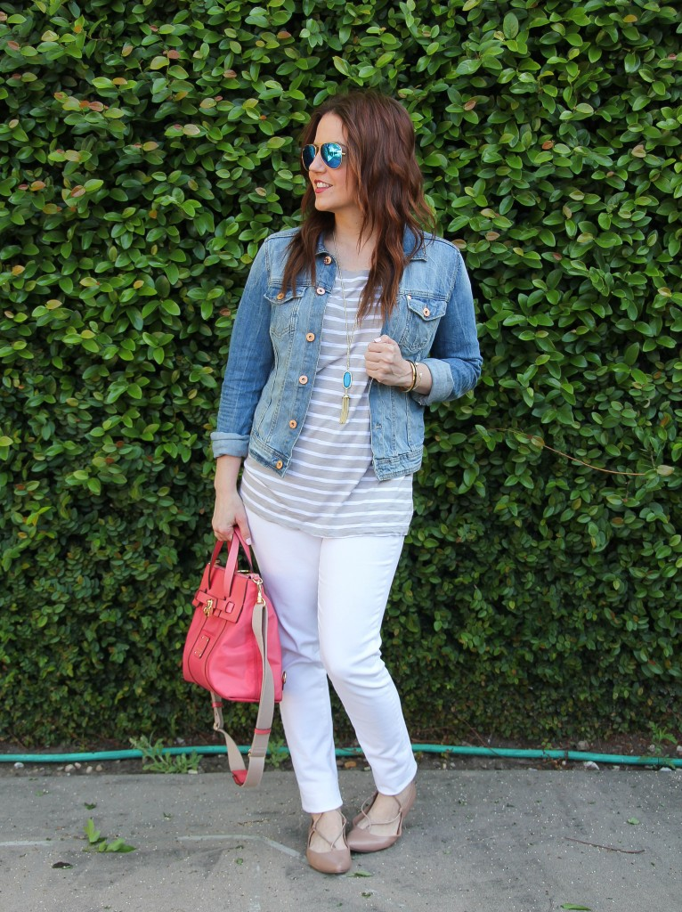 spring outfit idea - white denim