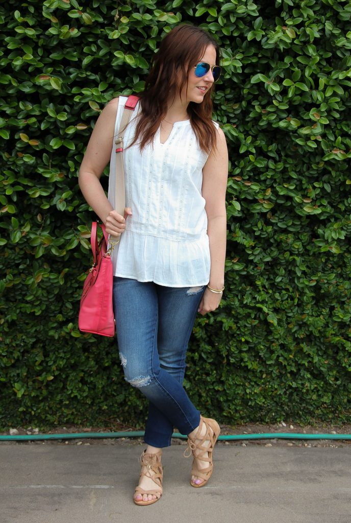 Summer Vacation Outfit idea - white top