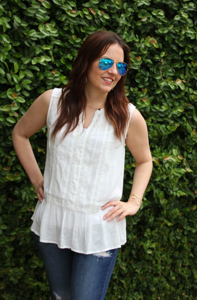 sleeveless white top for summer