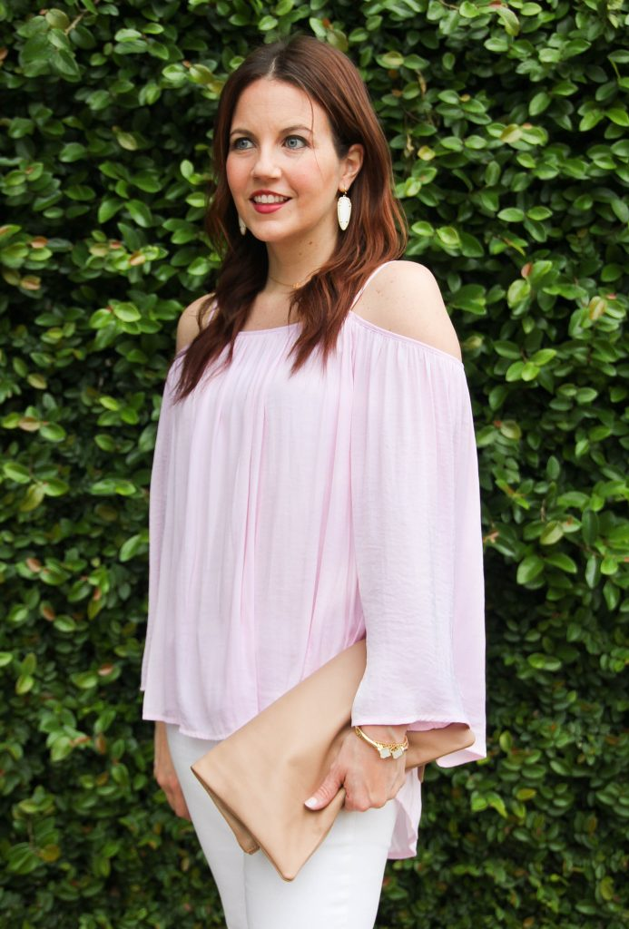 spring trends - off the shoulder top in blush pink