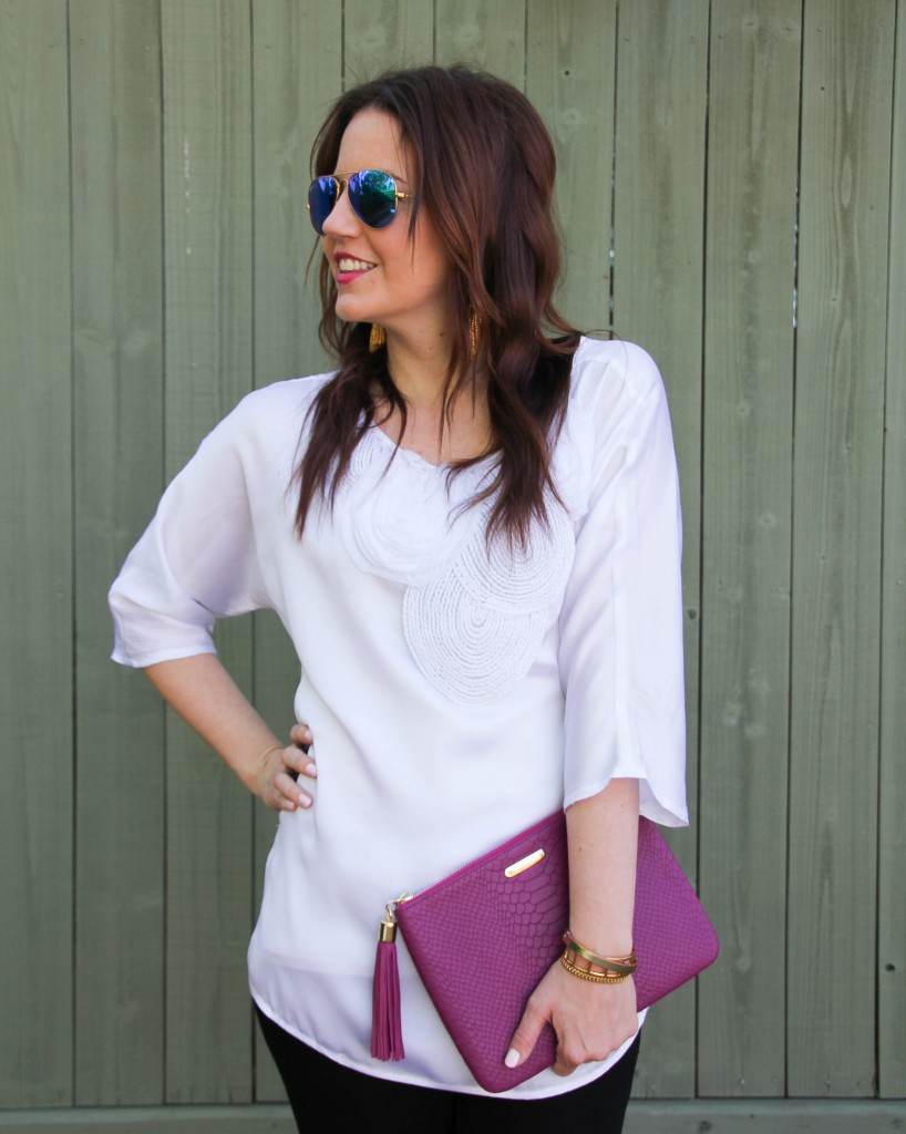 statement white blouse by Micheal Kors