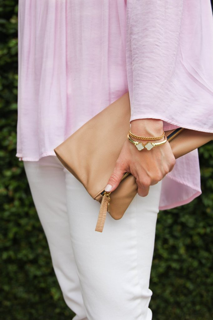 fashion - blush pink and white denim