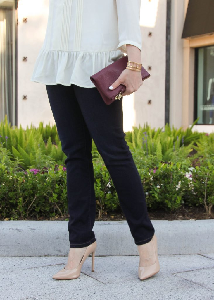 paige denim skinny jeans and nude heels