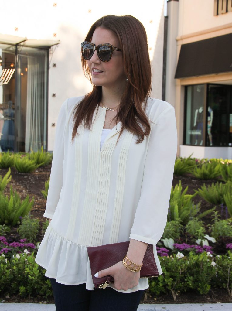 ruffle blouse and gold bracelets