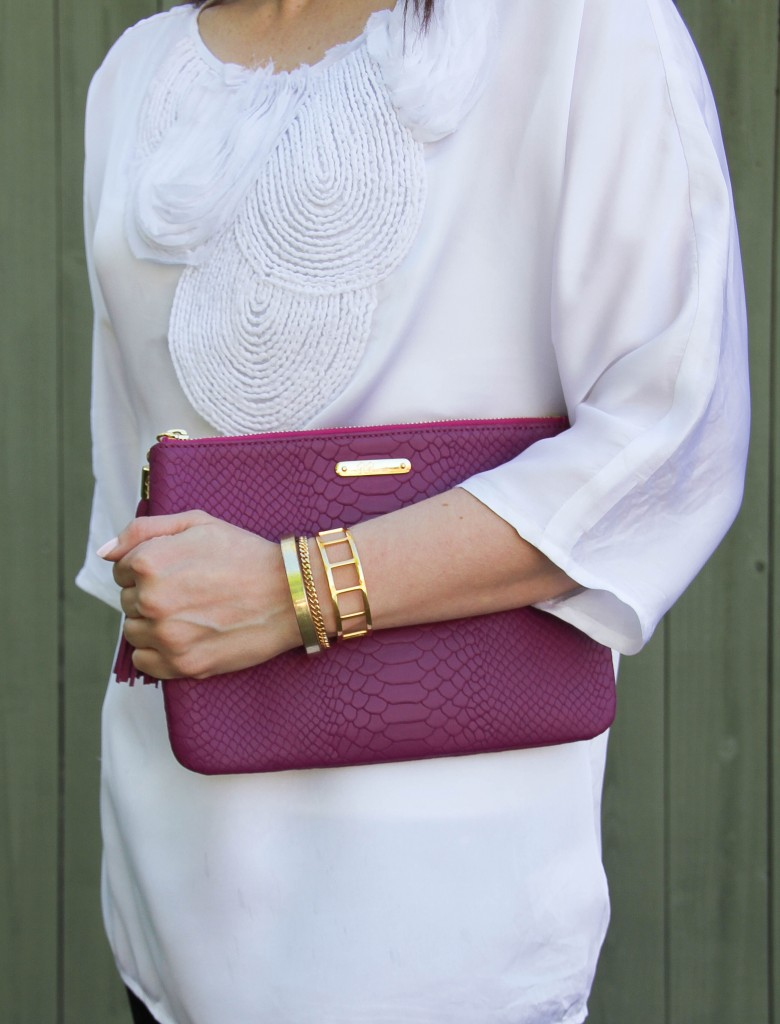 baublebar bracelets and magenta clutch