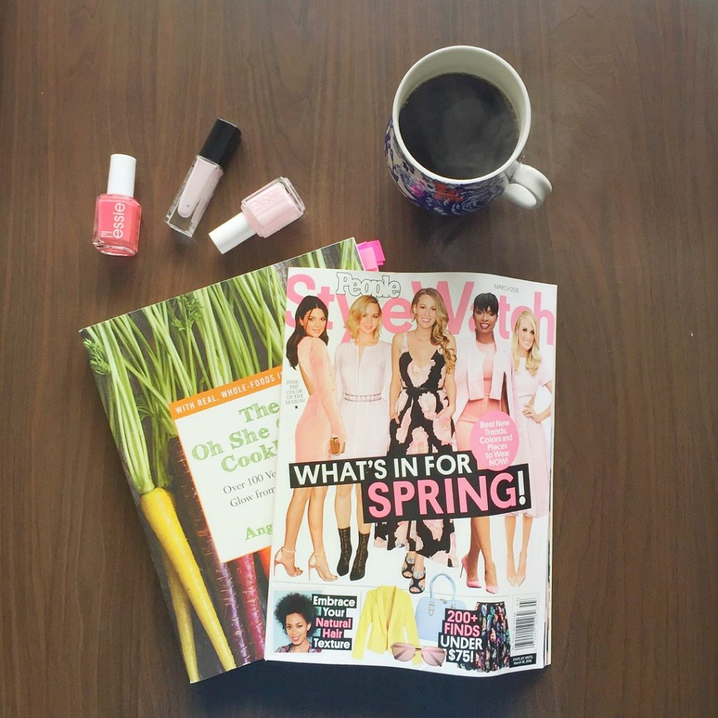 Weekend activities- cookbook and people stylwatch, nail polish