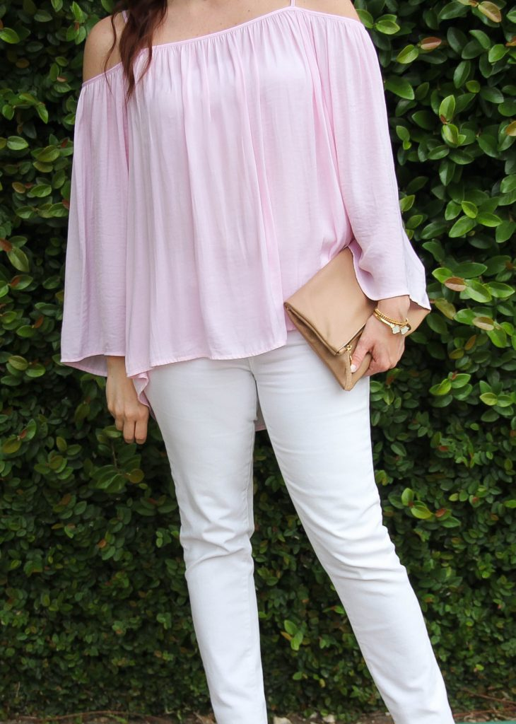 spring outfit - pink blouse and white denim