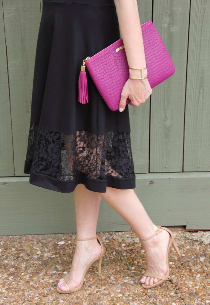 steve madden stecy heels and french connection lace panel dress