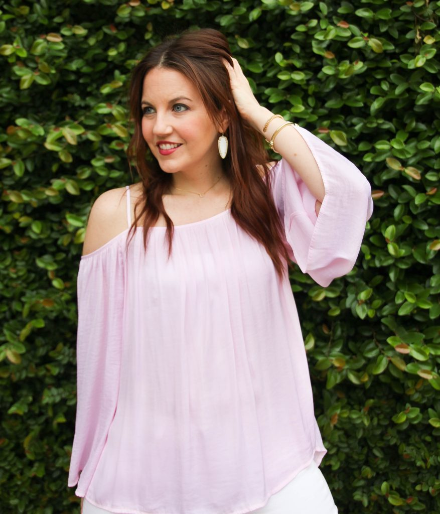 spring trend - pink off the shoulder blouse by Lady in Violet