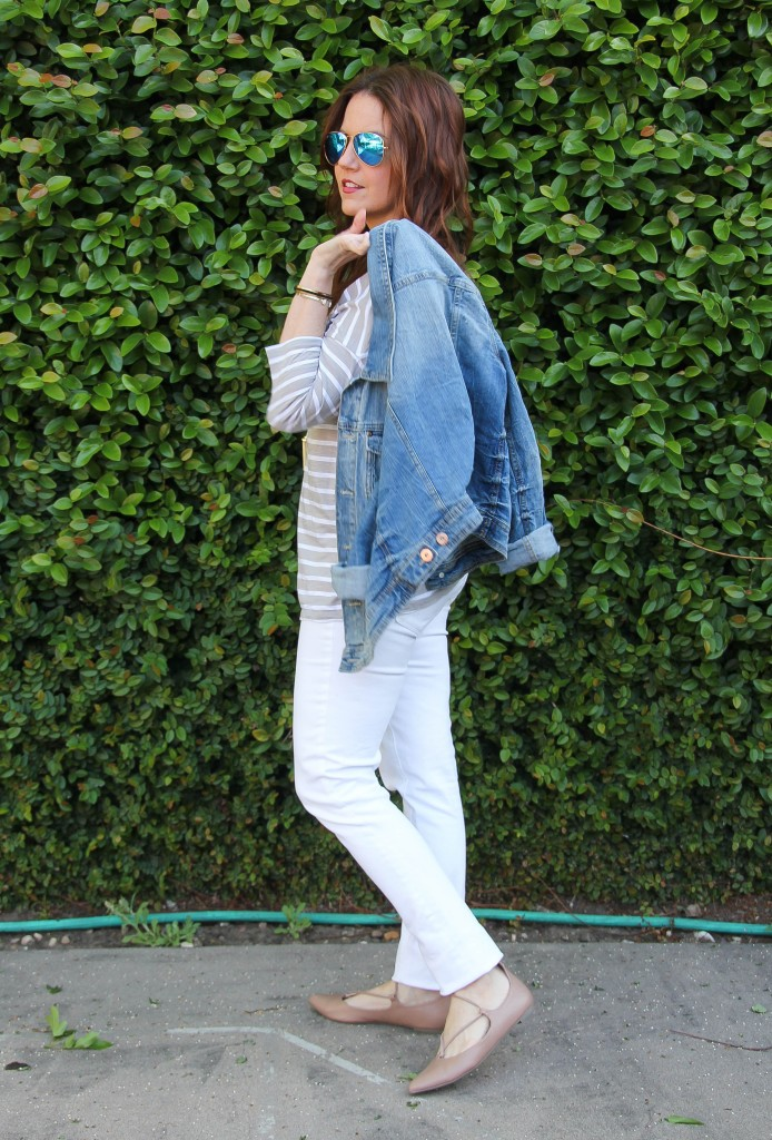 summer outfit idea - white jeans striped tee denim jacket