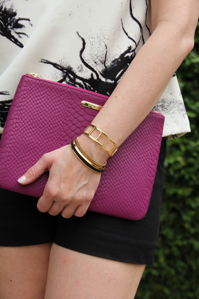 pink clutch and hair tie bracelet