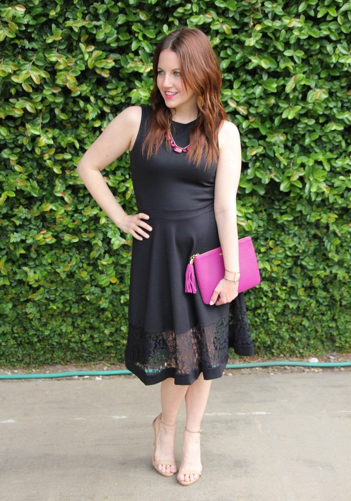 wedding guest outfit for women - black dress