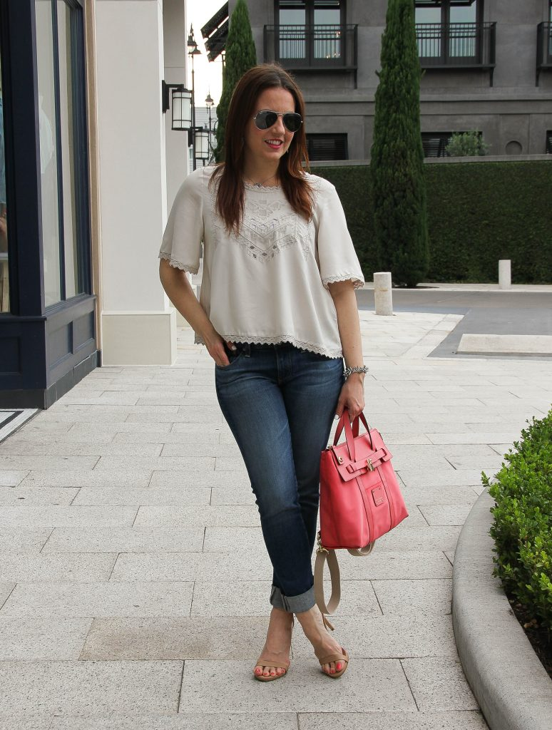 spring outfit - long crop top, jeans and heels